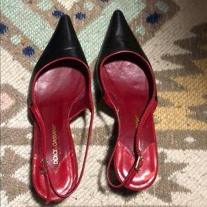 Authentic Dolce & Gabbana kitten sling back heels
